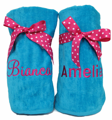 Monogrammed Beach Towels Tied with Bow