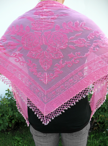 CLEARANCE: Triangular Crushed Velvet Pink Shawl with Beaded Trim - Only 1 Left!