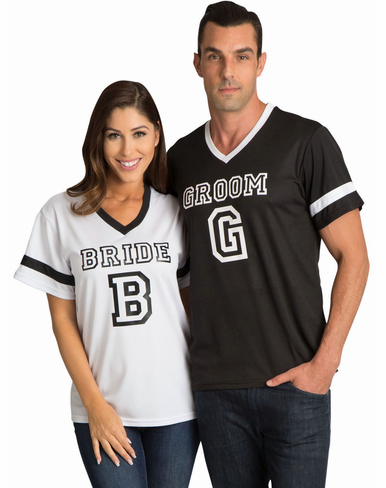 Bride and Groom Matching Couples Football Jerseys