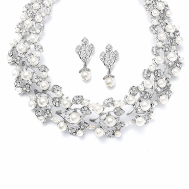 Elegant Pearl Choker And Earring Set Available In White And Ivory