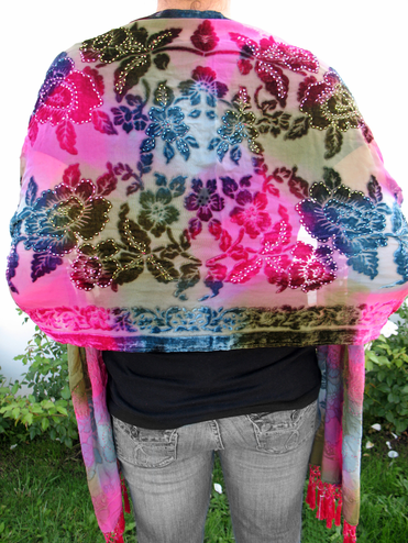 CLEARANCE: Multi Colored Tie Dye Shawl in Fuchsia and Greens - Only 1 Left!