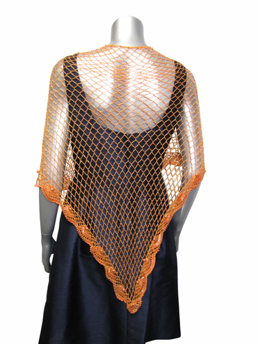 CLEARANCE: Beaded Orange Crocheted Shawl - Only One Left!