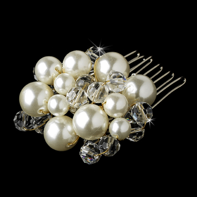 Pearl and Crystal Hair Comb in Gold and Silver