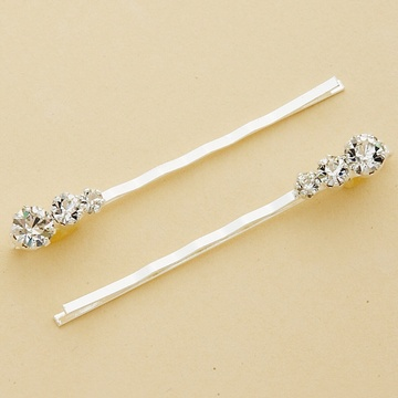 Graduated Round Crystal Silver Bobby Pins - Set of 2