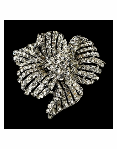 Elegant Vintage Crystal Bridal Pin for Hair or Gown Brooch 11