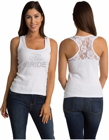 Lace Bridal Party Tank Tops with Big Bling Design