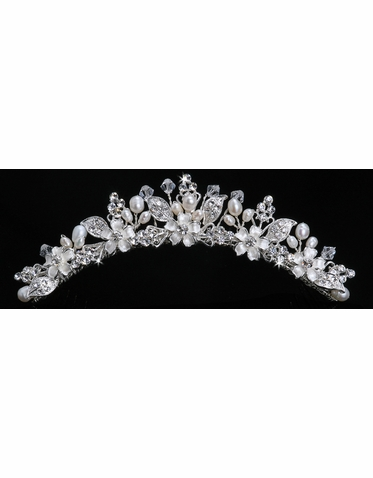 En Vogue Bridal Crystal & Pearl Tiara Comb TC824