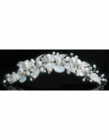 En Vogue Bridal Crystal & Pearl Tiara Comb TC1113