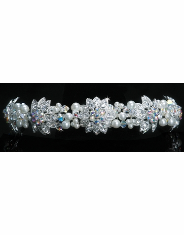 En Vogue Bridal Iridescent AB Crystal & Pearl Tiara 1103