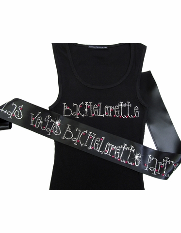 Bachelorette Tank Top and Bachelorette Party Sash in Dazzling Rhinestones