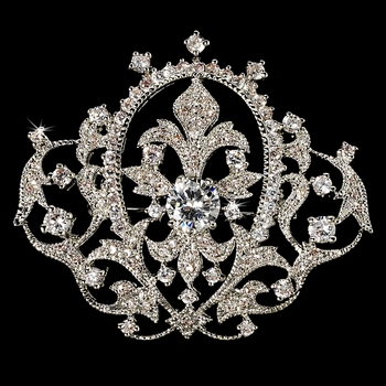 Elegant Vintage Crystal Bridal Pin for Hair or Gown Brooch 8007