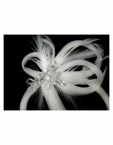 Feather and Rhinestone Hair Piece-2327