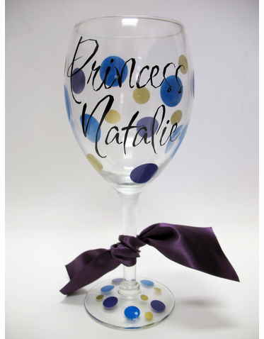 Personalized Princess Wine Glass - Custom Wine Goblet