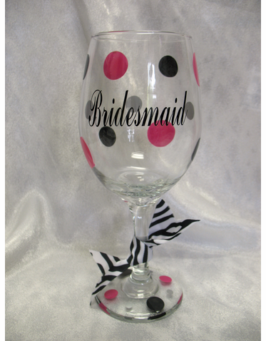 Custom Bridesmaid Wine Glass
