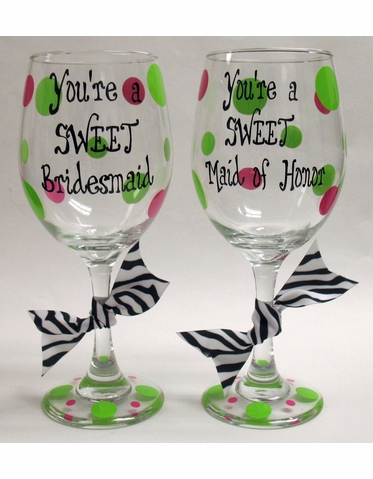 You're a Sweet Bridesmaid Personalized Wine Glass