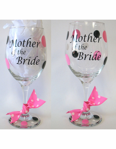 Personalized Wine Glass with Optional Polka Dots