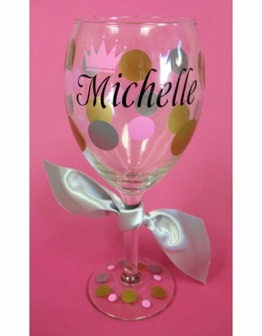 Personalized Wine Glass with Crown
