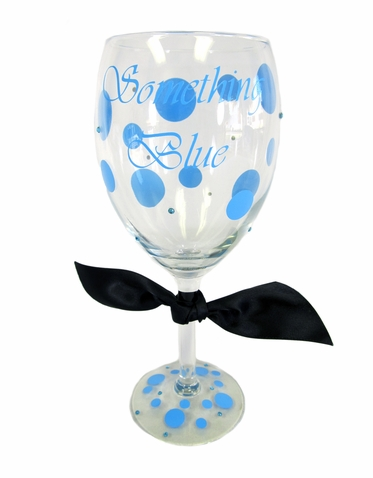 Custom Something Blue Wine Glass