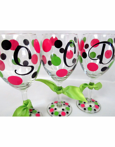 Custom Initial Wine Glasses with Polka Dots