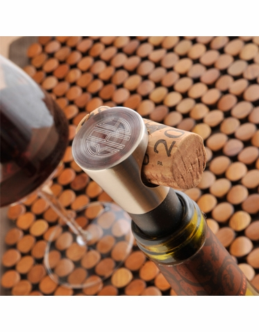 Personalized Wine Bottle Stopper with Cork Holder