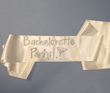 Bachelorette Party Sash with Rhinestone Cocktail
