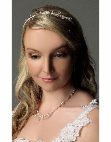 White Satin Bridal Headband IHD006