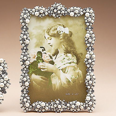 Lorraine Pearled Picture Frame with Austrian Crystals