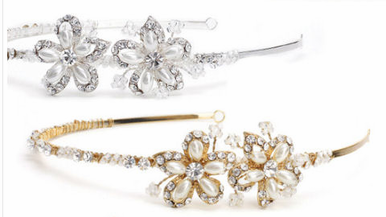 Ivory/Gold or White/Silver Headband with Eyelets