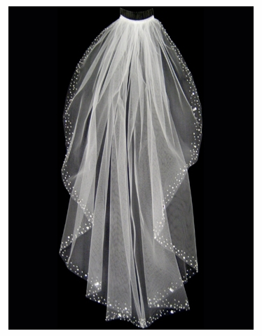 Wedding Veil with Assorted Pearls, Rhinestones, and Bugle Beaded Border