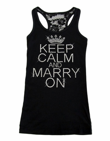 Rhinestone Keep Calm and Marry On Lace Tank Top