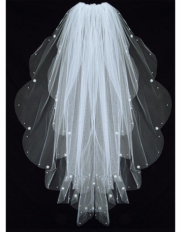 Bridal Veil with Scalloped Edges - Wedding Veil