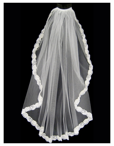 Beaded Lace Edged Bridal Veil