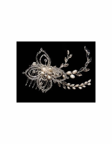 Pearls, Beads and Rhinestones Hair Comb 7050