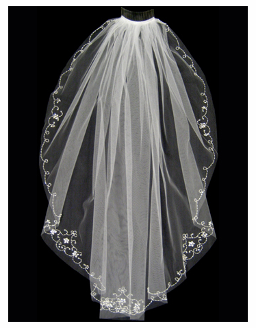 Scalloped Edge Wedding Veil with Rhinestone Flowers