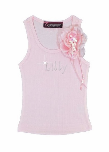 Flower Girl Tank Top with Sequin Flower Corsage