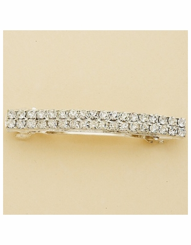 Hair Barrette: 2-Row Crystal Silver Hair Barrette
