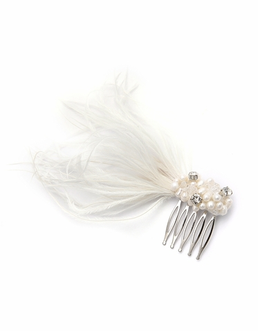 Shimmering Vintage Bridal Hair Comb With Ostrich Feather Sprays