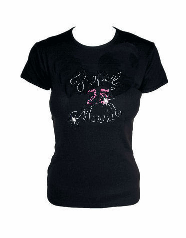 Happily Married Rhinestone Tank or T-Shirt with Number
