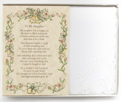 Wedding Handkerchief - From the Mother of the Bride to her Daughter
