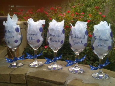 Personalized Wine Glasses for Bridesmaids