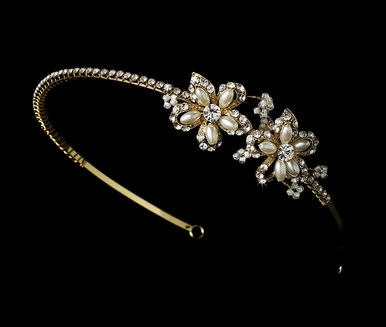 Pearl and Crystal Bridal Headband with Side Flowers - Gold or Silver