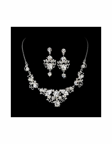 Silver Crystal Jewelry Set NE 8310