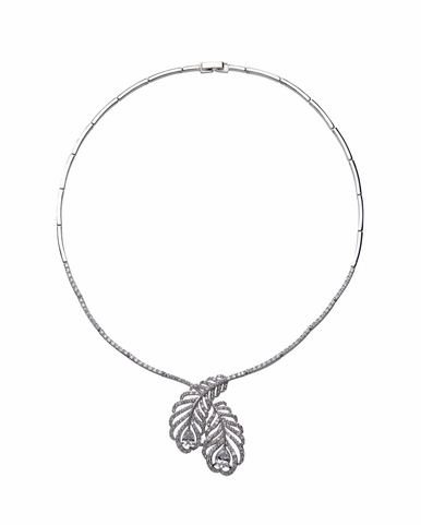 CLEARANCE: Natalie Elegant Peacock Feather Necklace By David Tutera