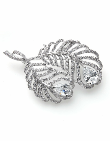 CLEARANCE: Natalie Elegant Peacock Feather Brooch By David Tutera