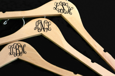 Monogrammed Bride and Bridesmaid Hangers
