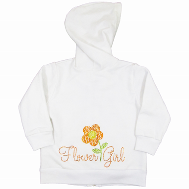 Rhinestone Flower Girl Hoodie with Flower Design