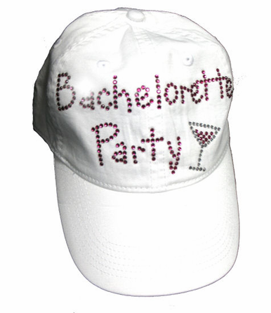 Bachelorette Party Rhinestone Hat with Martini Glass