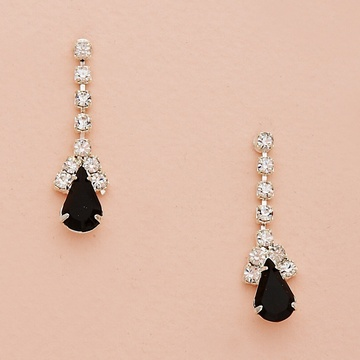 Teardrop Crystal Drop Silver Earrings
