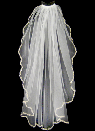 Bridal Veil with Embroidered Scalloped Edges