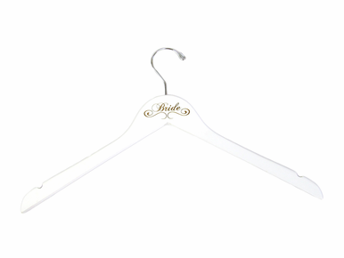White Bride Hanger Engraved with Scroll